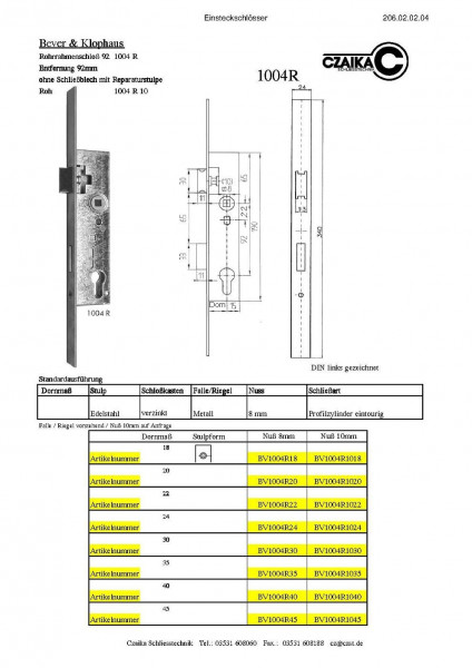 BV1004R24 Rohrrahmenschloß 92R Dorn 24 Stulp 24x340 N8/10