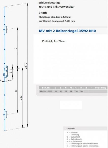 GSGP24923510 MV P6X24 / 92 / 35 / 10 KFV Maße 11-47011-0009