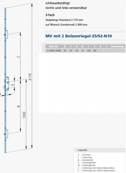 GSG16923510 MV 16 / 92 / 35 / 10 KFV Maße 11-44011-0008